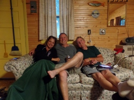 Kyle's dad, his uncle, and future step-mom chilling on the couch because it was the only thing to do.